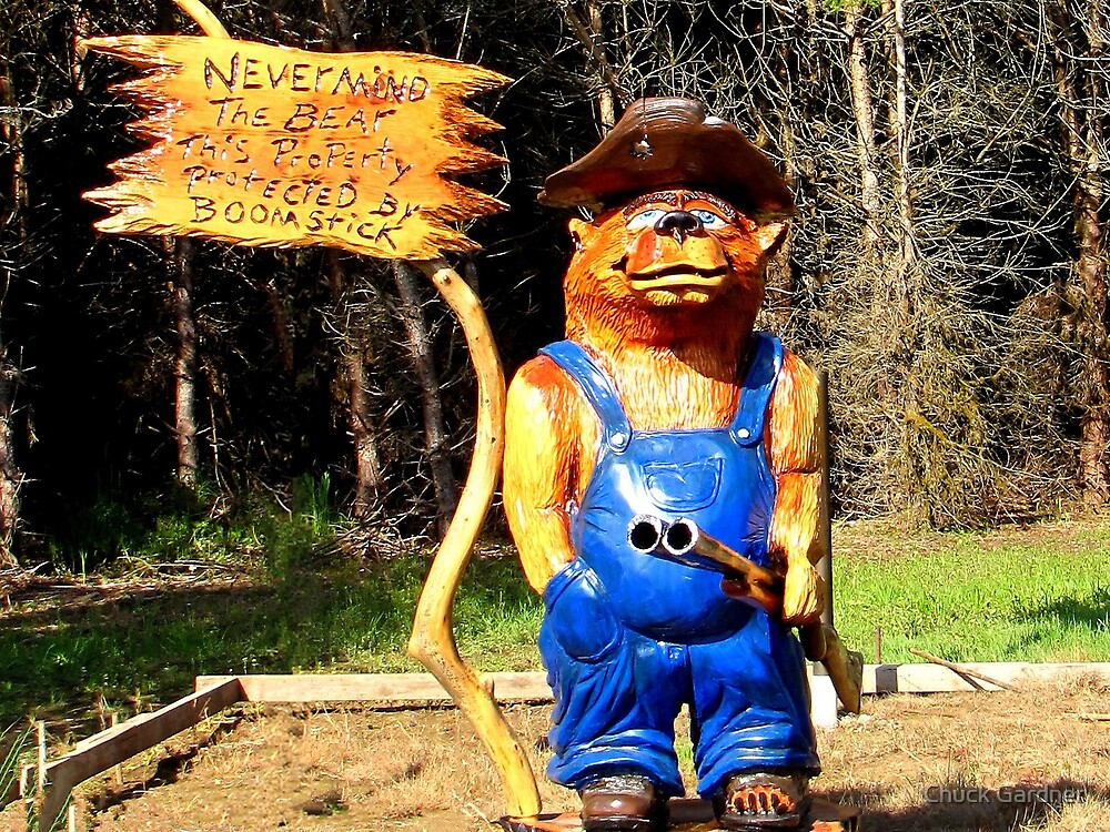 Never Mind the BEAR This Property Protected by BOOM STICK  by Chuck Gardner