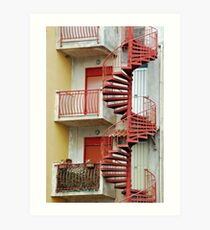 Winding staircase in red Art Print