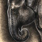 From the Earth: At Peace (Asian Elephant with Henna) by NoelleMBrooks