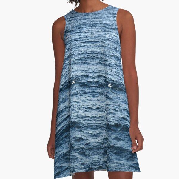 Blue sea abstract A-Line Dress