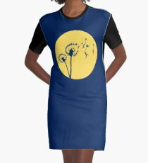 Dandylion Flight - Reversed Circular Graphic T-Shirt Dress