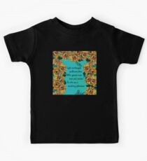 SUNFLOWERS QUOTE  Yellow Aqua BlueTurquoise Floral Collection Kids Tee
