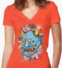 Hanya Demon Mask Women's Fitted V-Neck T-Shirt