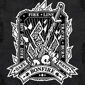 Dark Bonfire Emblem with Curse Souls Black and White by Voysla