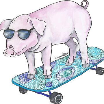 Skateboarding Piggy by zuzanaperner