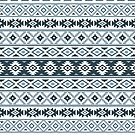 Aztec Stylized Pattern Gray-Blues & White by NataliePaskell