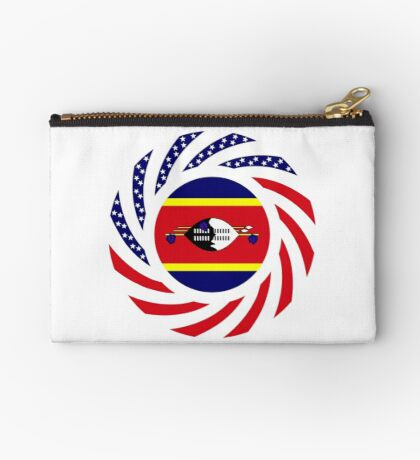 Swazi American Multinational Patriot Flag Series Zipper Pouch
