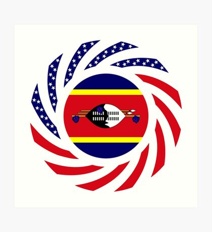 Swazi American Multinational Patriot Flag Series Art Print