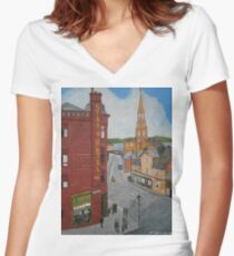 Old Port Glasgow Town Clock Women's Fitted V-Neck T-Shirt