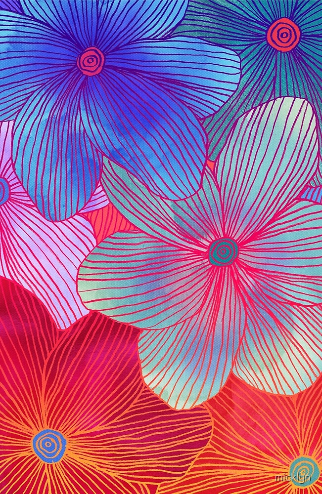 between the lines   tropical flowers in purple, pink, blue, Natural flower