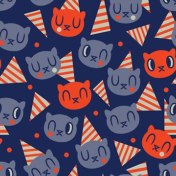 Memphis Birthday Cat - Pattern // Navy by ElliMaanpaa