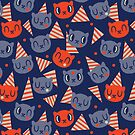 Memphis Birthday Cat - Pattern // Navy by Elli Maanpää