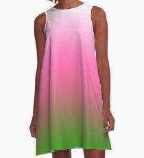 Ombre Weiß zu Pink zu Grün A-Linien Kleid