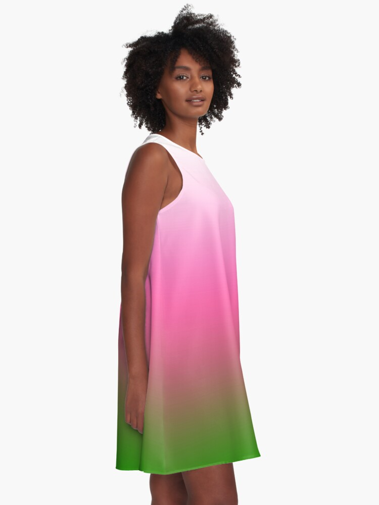 Alternate view of Ombre White to Pink to Green A-Line Dress