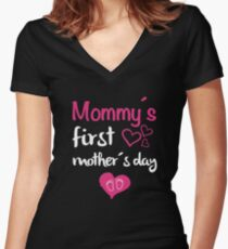 mommy's first mother's day Women's Fitted V-Neck T-Shirt