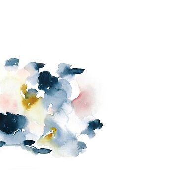 Introspective indigo watercolor abstract with hints of gold and pink by luisanino