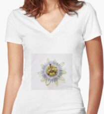 Isolated Bluecrown Passiflora Women's Fitted V-Neck T-Shirt