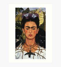 frida kahlo self portrait with hummingbird Art Print