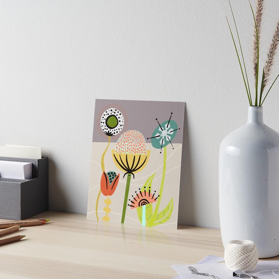 Mid Century Flowers Art Board Print