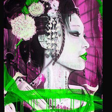 Geisha Phone Case (Pink & Green) by Tmiklos1971