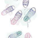 Cute trainers watercolour illustration by StefLau