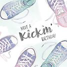 Kick birthday - 90's themed shoes fashion ombre birthday card by StefLau