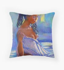 Lady In Blues Throw Pillow