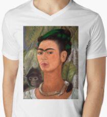 Frida Kahlo self portrait with monkey Men's V-Neck T-Shirt