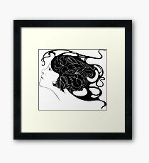 beautiful young girl with flowers in hair Framed Print