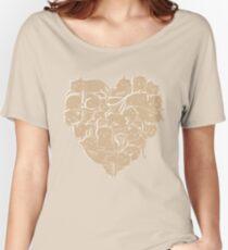 Camiseta ancha para mujer Amo el corazón de los gatos