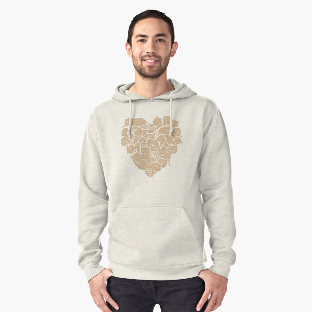 I Love Cats Heart Pullover Hoodie Front