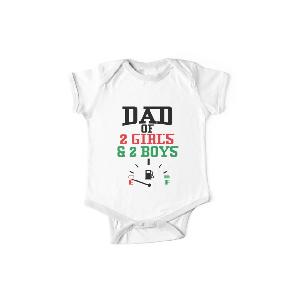 600d60d0 Funny Dad Of 2 Girls & 2 Boys T-shirt Fathers Day