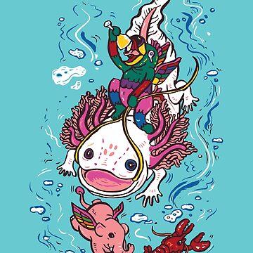 Axolotl with Elephant by nokhookdesign