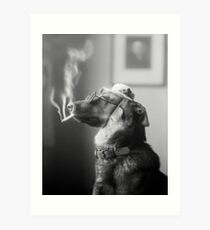 Classy Dog Smoking a Cigarette Art Print