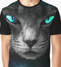 Space Cat (Turquoise/Green) | Digital Art Graphic T-Shirt