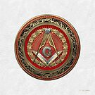 3rd Degree Mason Gold Jewel - Master Mason Square and Compasses over White Leather by Serge Averbukh