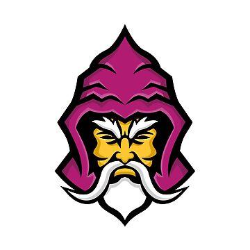 Wizard Head Front Mascot by patrimonio