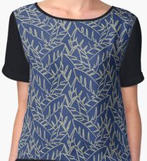 Into The Palms - Blue and Tan Chiffon Top