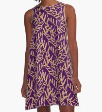 Into The Palms - Purple and Mustard A-Line Dress