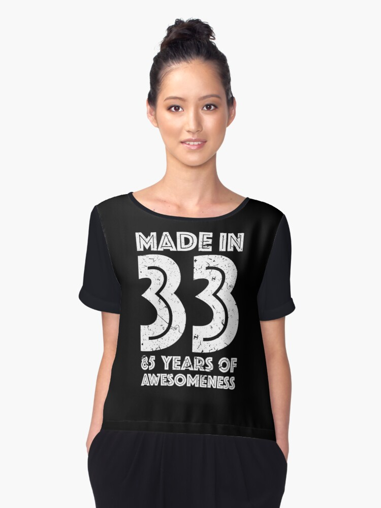 85th Birthday Gift Adult Age 85 Year Old Men Women Womens Chiffon Top Front