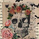 Halloween Collage Skull Roses Bats and Heart Studs by Jillian Crider