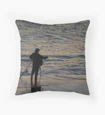 fishing at sunset by the shore  Throw Pillow