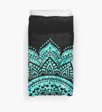 Schwarzes und aquamarines Mandala Bettbezug