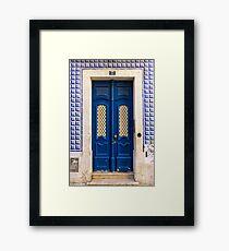Blue Door In Lisbon Souvenir Framed Print