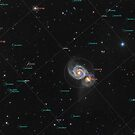 Whirlpool Galaxy (M51) in constellation Canes Venatici, annotated by Lukasz Szczepanski