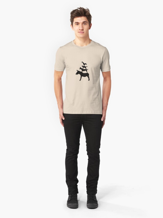 Alternate view of The Town Musicians of Bremen (Die Bremer Stadtmusikanten) - light tees Slim Fit T-Shirt