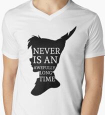 Peter Pan Quote Silhouette -- Never Is Men's V-Neck T-Shirt