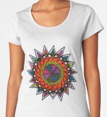 Modern Abstract Spiritual Circle Sacred Colorful Mandala Pattern Women's Premium T-Shirt