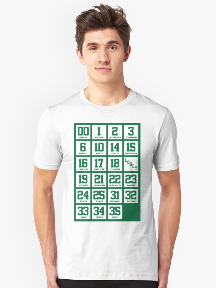 d24aed477 Retired Numbers - Celtics Slim Fit T-Shirt. Designed by pkfortyseven