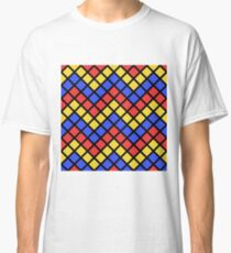 Blue Red and Yellow Zigzag Design Classic T-Shirt